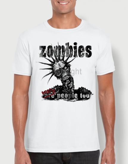 ανδρικό t-shirt  λευκό με στάμπα Zombies were humans too