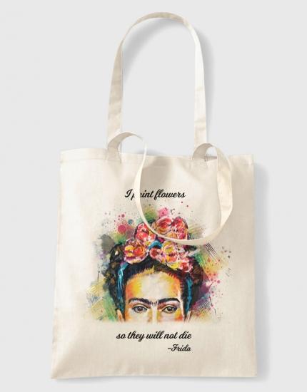 Υφασμάτινη τσάντα με στάμπα Frida Flowers