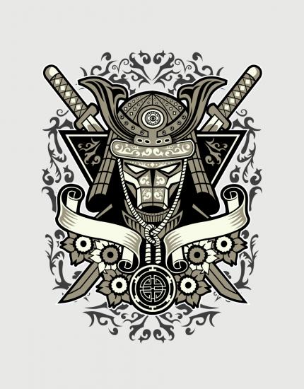 Hoodied φούτερ με στάμπα Samurai