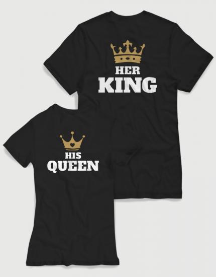 Μπλουζάκια με στάμπα Her King - His Queen