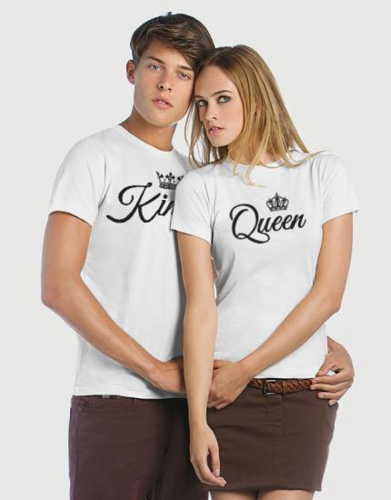 Μπλουζάκια με στάμπα King - Queen calligraphy