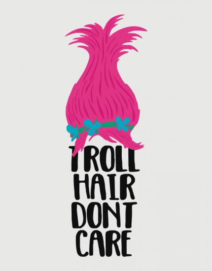 Μπλουζάκι με τύπωμα Troll hair do not care