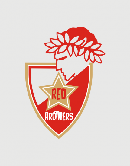 Hoodied φούτερ με στάμπα Red Brothers