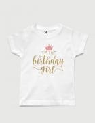 παιδικό μπλουζάκι μαύρο με στάμπα I am the Birthday Girl