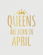 e89303034b00 λευκό παιδικό μπλουζάκι με στάμπα Queens are born in April