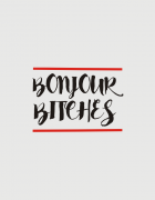 Καπέλο κόκκινο Trucker Beechfield με στάμπα Bonjour bitches