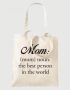 Υφασμάτινη τσάντα με στάμπα Mom: the best person