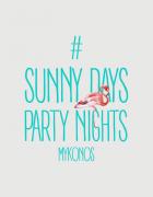 Μπλουζάκι με στάμπα Party nights mykonos