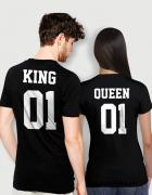 Μπλουζάκια με στάμπα KING - QUEEN 01