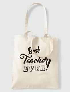 Υφασμάτινη τσάντα με στάμπα Best teacher ever