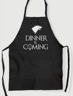 Ποδιά μαγειρικής με εκτύπωση Dinner is coming