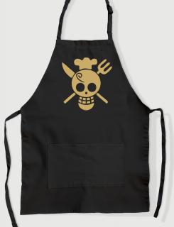 Μαύρη ποδιά με εκτύπωση One cook