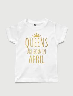 λευκό παιδικό μπλουζάκι με στάμπα Queens are born in April