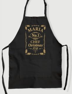 Μαύρη ποδιά με εκτύπωση No1 Christmas Chef