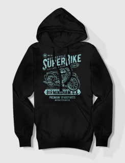 Hoodied φούτερ με στάμπα Super Bike