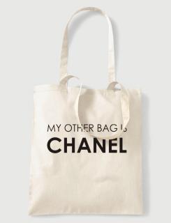 Υφασμάτινη τσάντα με στάμπα Chanel