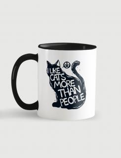 Κούπα κεραμική με τύπωμα I like cats more than people