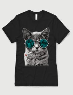 Μπλουζάκι με στάμπα Smoking Cat