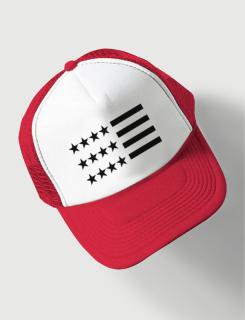 Καπέλο κόκκινο Trucker Beechfield με στάμπα American Flag