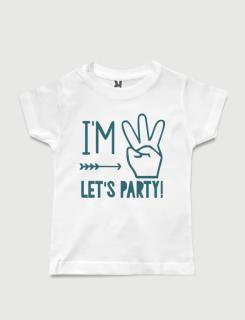 Μπλουζάκι με στάμπα I am three Let's party