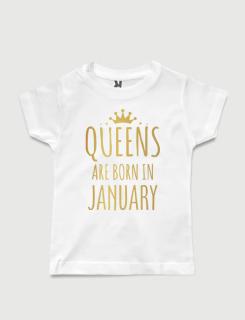 λευκό παιδικό μπλουζάκι με στάμπα Queens are born in January