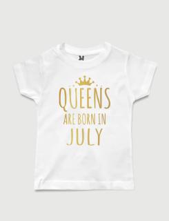 λευκό παιδικό μπλουζάκι με στάμπα Queen are born in July