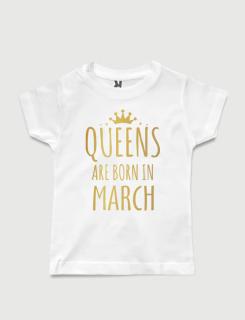 λευκό παιδικό μπλουζάκι με στάμπα Queens are born in March