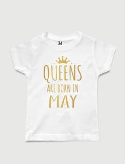λευκό παιδικό μπλουζάκι με στάμπα Queen are born in May