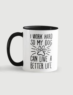 Κούπα κεραμική με τύπωμα Work hard dog