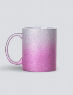 κούπα glitter ασημί-ροζ