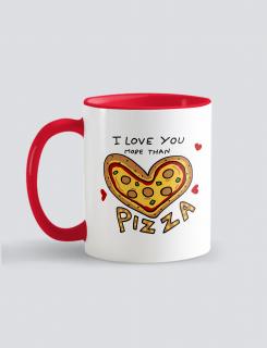 Κούπα κεραμική με εκτύπωση Love you more than Pizza