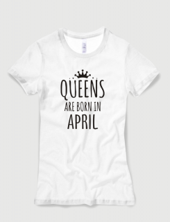 Μπλουζάκι με στάμπα Queens are born in April
