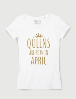 Μπλουζάκι με στάμπα queen are born in april