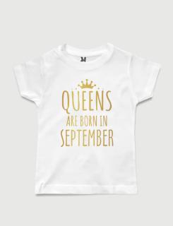 λευκό παιδικό μπλουζάκι με στάμπα Queen are born in September