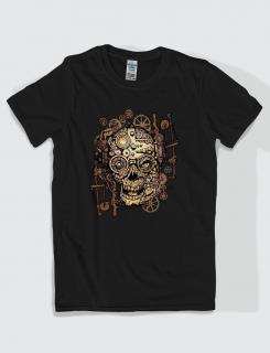 ανδρικό t-shirt μαύρο με στάμπα Skull gears and sprockets