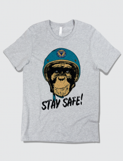 Μπλουζάκι με τύπωμα Stay Safe Monkey