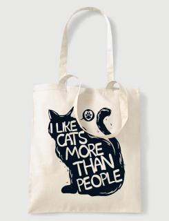 Υφασμάτινη τσάντα με στάμπα I like cats more than people