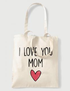 Υφασμάτινη τσάντα με στάμπα I love you mom