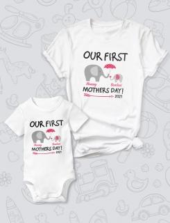 Μπλουζάκι και φορμάκι με τύπωμα Our first mother's day