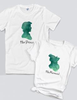 Μπλουζάκια με στάμπα Her Prince - His Mermaid
