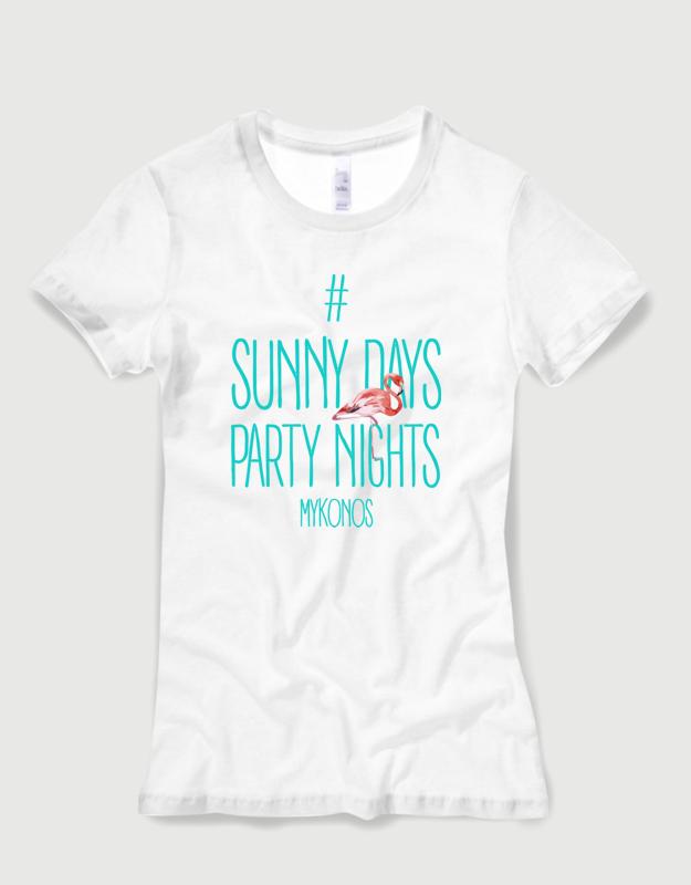 Μπλουζάκι με στάμπα Party nights mykonos 43d33381718
