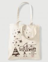 Υφασμάτινη τσάντα με στάμπα Καλά Χριστούγεννα Νονέ