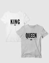 Μπλουζάκια με τύπωμα King - Queen simple