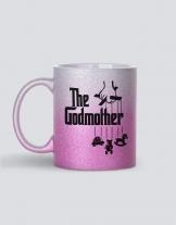 κούπα glitter ασημί-ροζ  με τύπωμα Οι καλύτερες φίλες γίνονται νονές